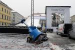 München, Wittelsbacher Platz, Aufbau Snow City, 31.1.2011